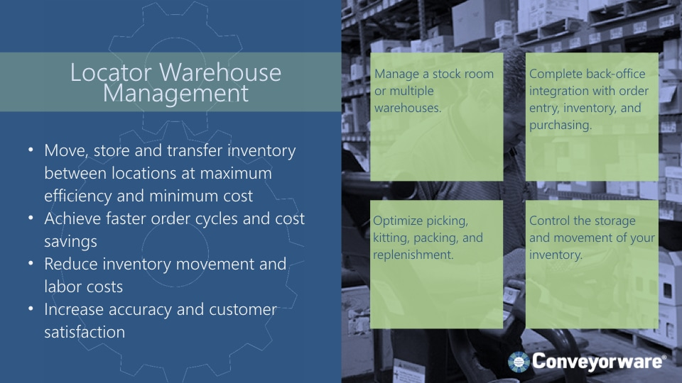 Locator warehouse management.