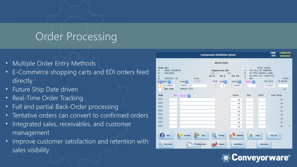 Order processing.