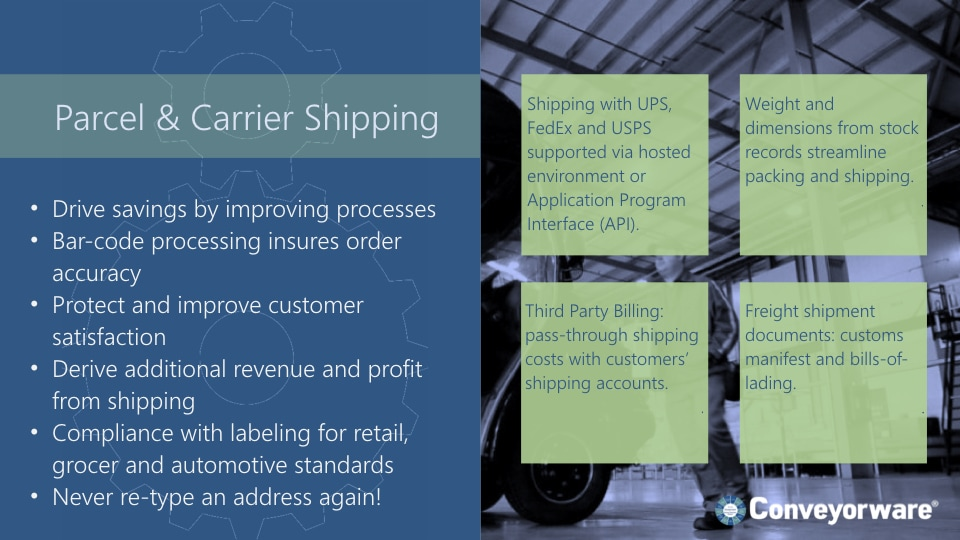 Parcel and carrier shipping.