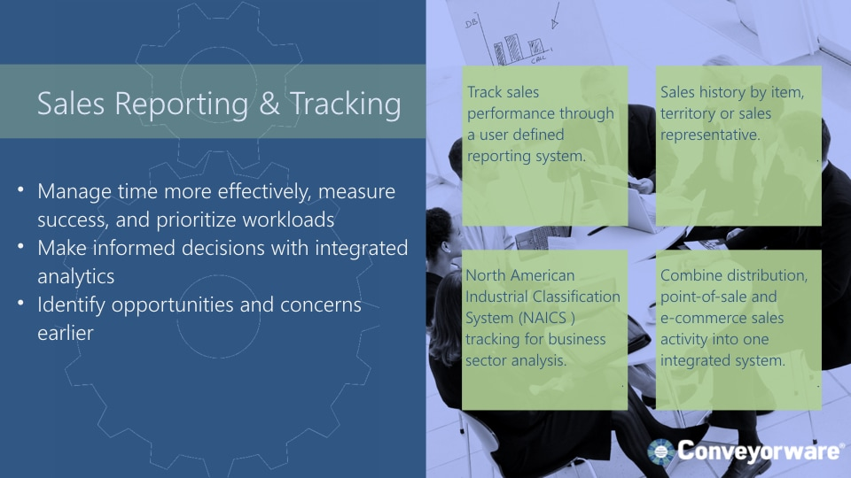 Sales reporting and tracking.